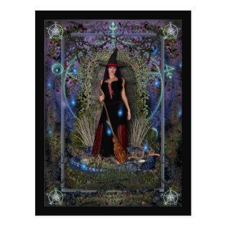 Carte postale de sorcière - sorcière et dragon de