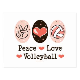 Carte postale de volleyball d'amour de paix