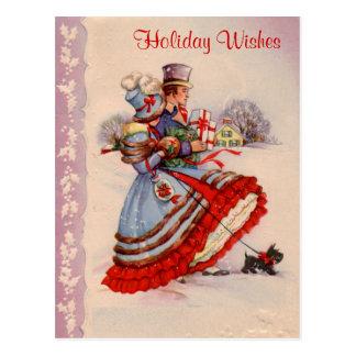 Carte postale démodée d'achats de Noël