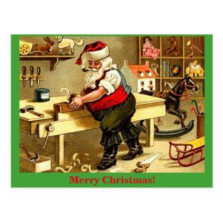 Carte postale démodée de Noël de l'atelier de Père