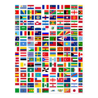 Carte Postale drapeaux du monde contre le blanc