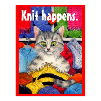 Carte postale drôle de minou de tricot