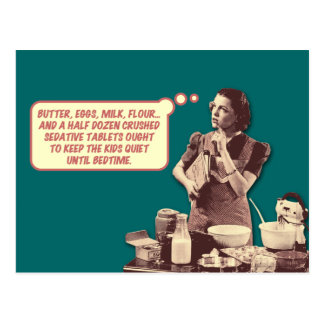 Carte postale drôle - rétro gâteau de Sleepytime d