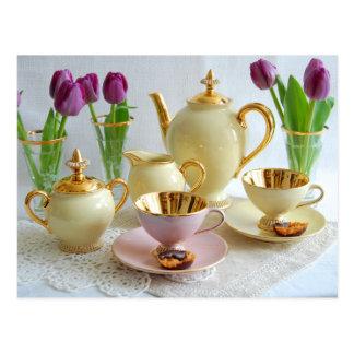 Carte postale élégante de thé/café d'après-midi