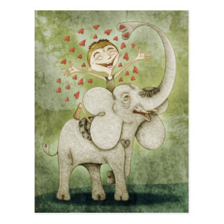 Carte Postale Elephant. Funny, fantastic, offre and imaginative