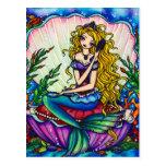 Carte postale féerique d'art d'imaginaire de sirèn