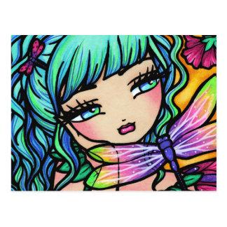 Carte postale féerique d'imaginaire de fleur de