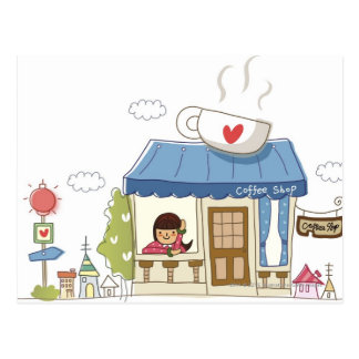 Carte Postale Femme dans un café-restaurant