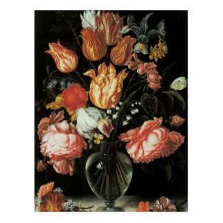 Carte postale florale de beaux-arts de tulipes et