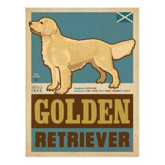 Carte Postale Golden retriever vintage classique