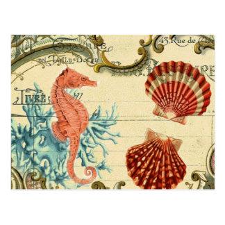 Carte Postale hippocampe vintage moderne français de coquillage