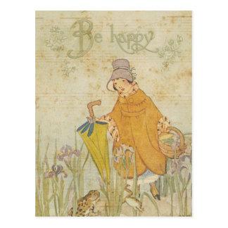 Carte Postale Iris mignon vintage d'étang de grenouille