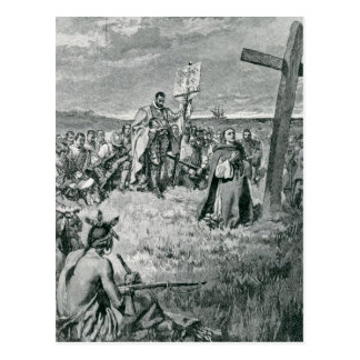 Carte Postale Jacques Cartier installant une croix chez Gaspé