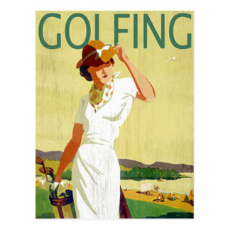Carte postale jouante au golf de dame golfeur