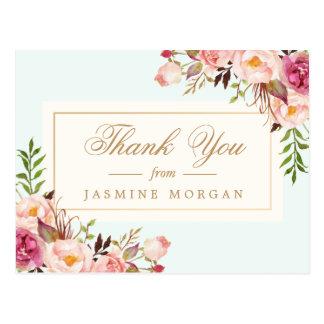 Carte Postale L'aquarelle chic élégante fleurit le Merci