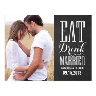 Carte Postale Mangez la boisson et soyez des économies mariées