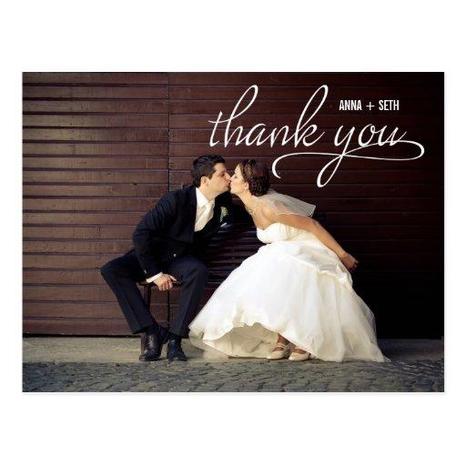 Carte postale MANUSCRITE de Merci - blanc