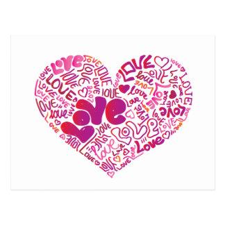 Carte postale mignonne d'amour de typographie