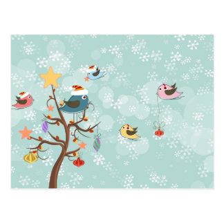 Carte postale mignonne d'oiseaux de Noël