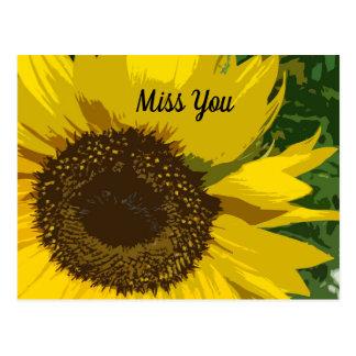 Carte Postale Mlle You avec le beau et unique tournesol