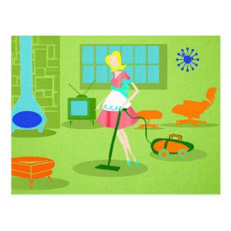 Carte postale moderne de femme au foyer de la