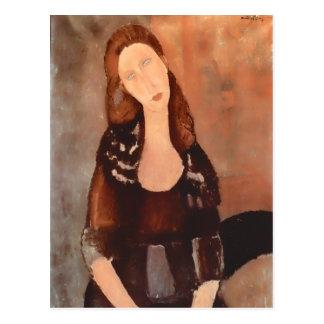 Carte Postale Modigliani Potrait de Jeanne Hebuterne