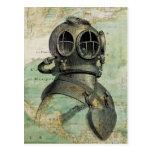 Carte postale nautique antique de casque de carte