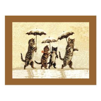 Carte Postale Neige vintage de parapluies de chats