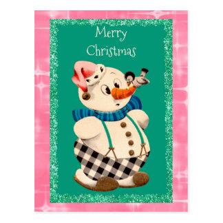Carte Postale Noël de cru de bonhomme de neige