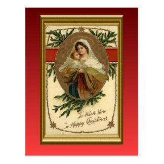 Carte Postale Noël vintage, Mary et bébé Jésus