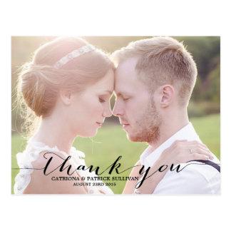 Carte postale noire de Merci de mariage de photo d