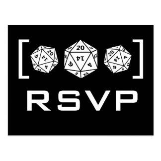 Carte postale noire du Gamer RSVP des matrices D20