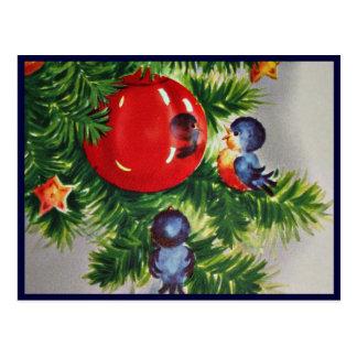 Carte Postale Oiseaux bleus dans un arbre de Noël