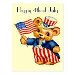Carte postale patriotique vintage d'ours