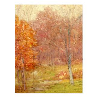 Carte Postale Peinture vintage de forêt d'automne