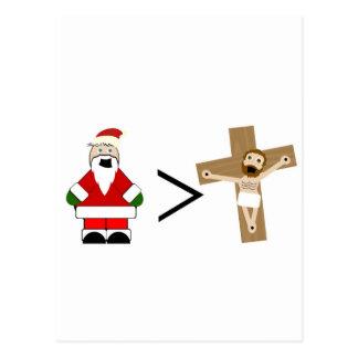 Carte Postale Père Noël est plus grand que Jésus