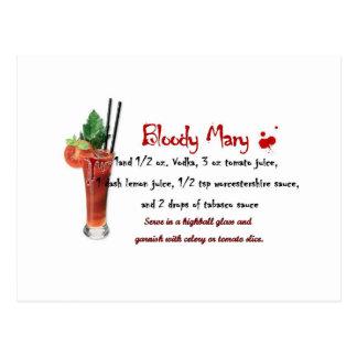 Carte Postale Recette de boissons de Mary sanglante