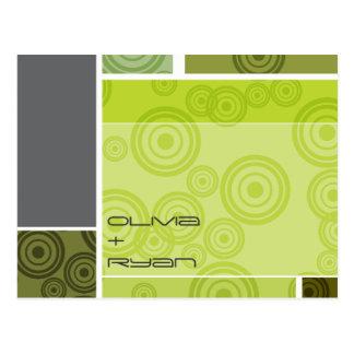 Carte Postale rétros économies de vert de blocs de cercles de