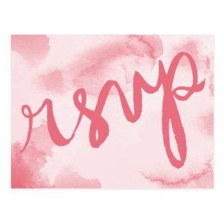Carte postale rose abstraite de l'aquarelle | RSVP