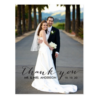 Carte postale simple de Merci de mariage d'écritur