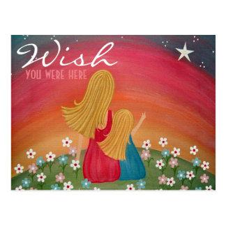 Carte Postale Souhaitant l'étoile - fille de mère souhaitant