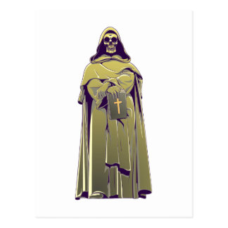 Carte Postale Tête de mort crâne moine skull monk