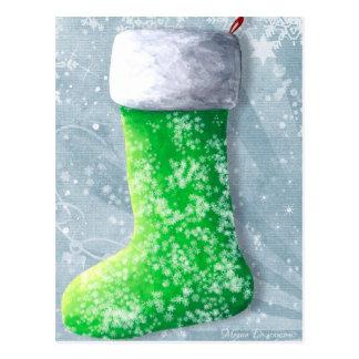 Carte postale verte de bas de Noël
