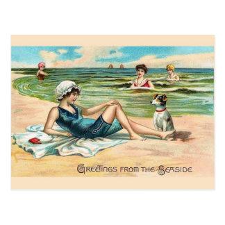 Carte postale victorienne vintage de plage