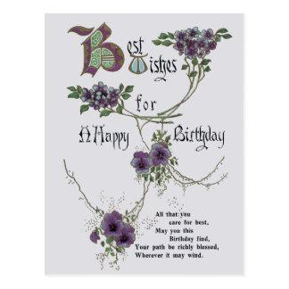 Carte postale vintage de joyeux anniversaire
