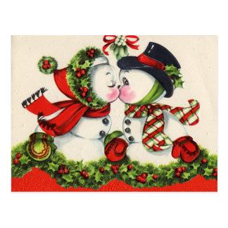 Carte postale vintage de Noël de bonhomme de neige