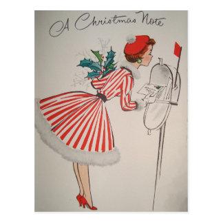 Carte postale vintage de note de Noël une rétro