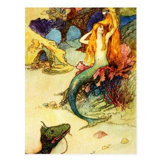 Carte postale vintage de sirène