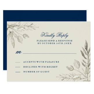 Carte pour aquarelle d'argent et de la marine RSVP Carton D'invitation 8,89 Cm X 12,70 Cm
