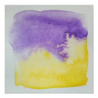 Carte pour aquarelle de pourpre de jaune carton d'invitation  13,33 cm